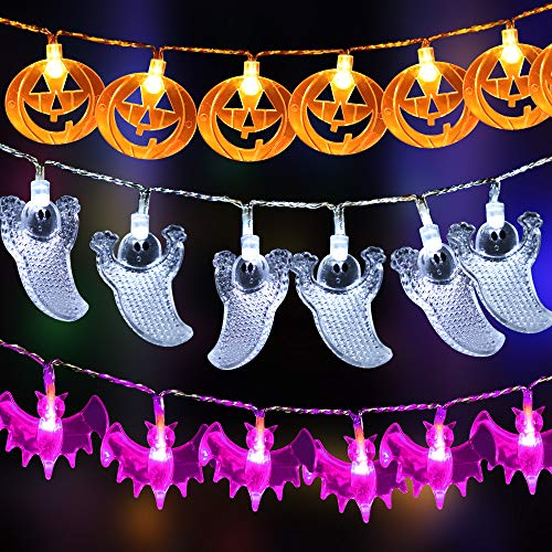 Eyscoco Lichterkette, Halloween Lichterkette Geister 30 LED Lichterketten Außen Wasserdicht UV Geist Licht mit Fernbedienung für Halloween Party Deko (Orange/White/Purple)