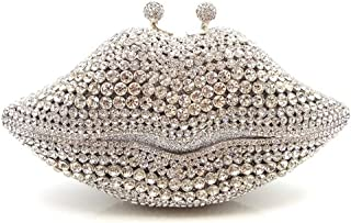 Bag for Women Fashion Creative Lips Styling Full Diamond Luxury Rhinestones Solid Color Banquet Evening Bag Women's Metal Chain Shoulder Slings Daily Wedding Bride Dress Gift Clutches Bags Pu Wallet