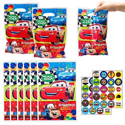 PANTIDE Race Car Goodies Candy Treat Bags, 50pcs Race car Plastic Bags with 2pcs Stickers, Birthday Party Favors Party Supplies for Kids Race Car Theme Party Gift Bags