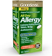 Goodsense All Day Allergy, Cetirizine Hcl Tablets 10 Mg, Antihistamine for Allergy Relief, 365Count