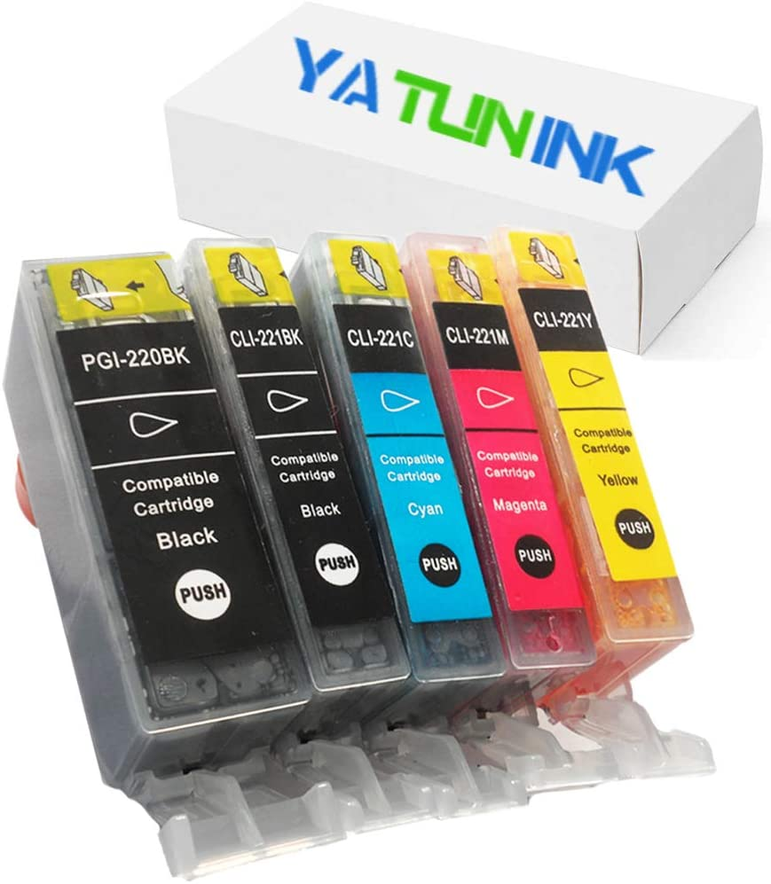 PIXMA MP540 PIXMA MP550 PIXMA MP560 PIXMA MP620 PIXMA MP630 PIXMA MP640 PIXMA MP980 ECT YATUNINK Compatible Ink Cartridge Replacement for Canon PGI-220 and CLI-221 Ink Cartridge Printers