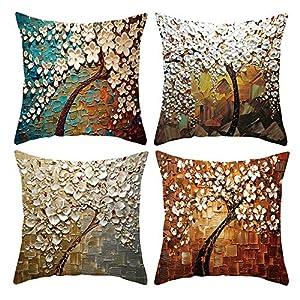 ARNTY Fundas de Cojines 45x45cm, 4 Fundas Cojines Decorativos para Sofa Terciopelo Sencillo y Decorativo Cojines Hojas para Sofá Camas Dormitorio Coche