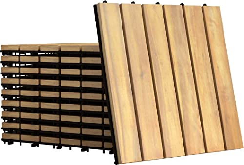 """popular Giantex Patio Interlocking Wood Tile Flooring, Acacia Wood Deck Tiles Patio Pavers, Tools Free Assembly, Wood Composite lowest Deck Flooring for Outdoor & Indoor, Pack of online sale 10 Tiles, 12"""" x 12"""" (Stripe Pattern) sale"""