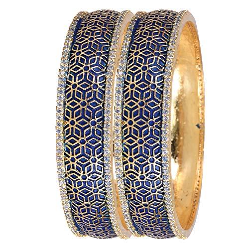Ratnavali Jewels CZ Zirkonia Gold Tone Fettes Blau Emaille Indische Armreifen Bollywood Schmuck Frauen