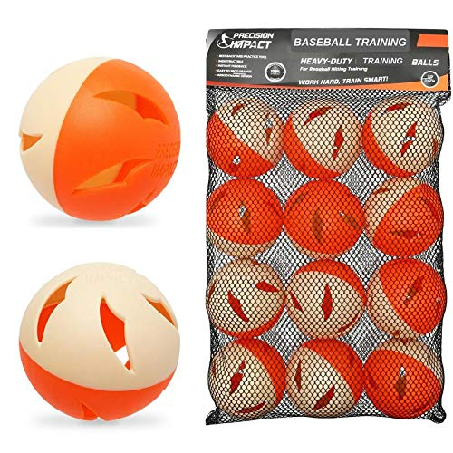Precision Impact Baseball Practice Balls: Heavy-Duty Lightweight Balls for Baseball Hitting Training (12-Pack)