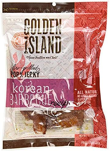 Golden Island Fire Grilled Pork Jerky Korean Barbecue Receipe 14 5 Oz 2 Pack product image