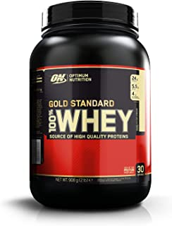 Optimum Nutrition ON Gold Standard 100% Whey Proteína en Polvo Suplementos Deportivos con Glutamina y Aminoacidos Micronizados Incluyendo BCAA, Helado de Vainilla, 29 Porciones, 908 gr