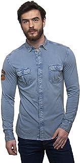 Royal Enfield Blue Cotton Shirt for Men Size (2XL) 46 CM (RLASHI000089)