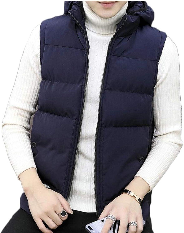 - maweisong Men's Men's Men's Warm Sleeveless Outwear Vest Hooded Jacket Zipper Waistcoat 9899ab
