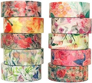 YUBX Fleur Washi Tape Ruban Adhésif Papier Décoratif Masking Tape pour Scrapbooking Artisanat de Bricolage (Warm Tone)