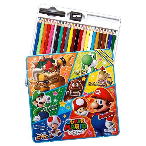 Mitsubishi Premium Quality Colored Pencils Super Mario Set of 24 Assorted Colors (Light Blue)