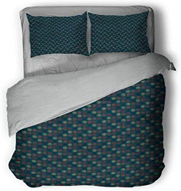 """Geometric Medium Double Duvet Cover Blue Toned Background with Warm Colored Bullseye Patterned Circles with Stars King Duvet Cover 104""""x89""""inch Multicolor"""