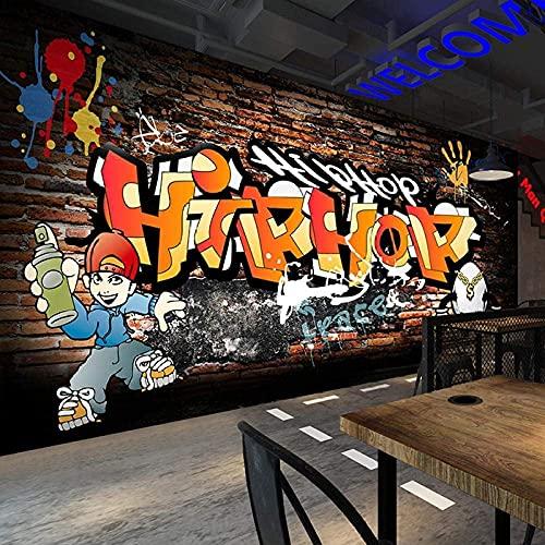 Life Accessories Mural 3D Mural 3D Wall Brick Hip Hop Graffiti Street Dance Mural Bar Ktv Internet Cafe Dance Room Gym Background 250cmx175cm(98.4x68.9inch)