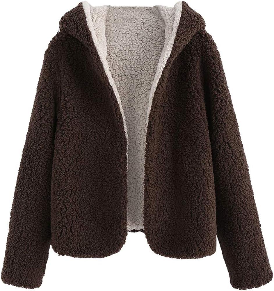 ZAFUL Women's Short Teddy Coat Fuzzy Fleece Reversible Open Front Hooded Outwear Jacket