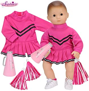 Sophia's Hot Pink Cheerleading Baby Doll Clothes Outfit,15 or 18 Inch Doll, Includes Two Pom Poms & Doll Megaphone Baby Do...