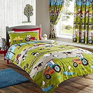FARM YARD ANIMAL PIG DOG COW SHEEP TRACTOR DUVET QUILT COVER BEDDING SET - UK Single / CA Twin
