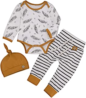 Happy Town Newborn Infant Baby Girls Boys Hoodie Set Leaves Striped Jacket Pants Set Kids Fall Clothes