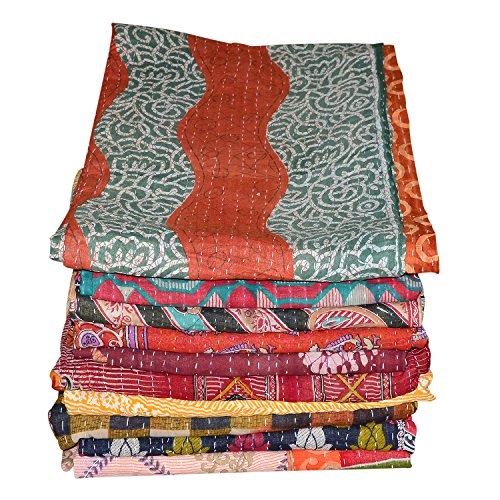 MarudharaFashion Indian Patch Work Cotton Kantha Quilt Twin Bedspreads Throw Blanket (Twin Multi Floral) Tapestry
