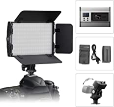 Video Fill Light, Tolifo DSLR Light PT-15B-II Kit Including Bi-Color Metal LED Light with Barn Doors, Hotshoe, 2200mAh Rechargeable Battery for Studio, YouTube, Product Photography, Video Shooting