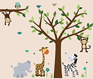 Safari Evergreen Jungle Tree Wall Decals, Jungle Stickers with Green Leaves and Vinyl Tree