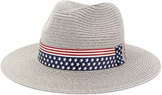 JAUROUXIYUJIN Men and Women's Summer Paper Straw Wide Brim Sun Hats Men Women British Style Jazz Fedora Beach Hat Cowboy Sunhat with US Flag Ribbon (Color : Gray, Size : 56-58CM)