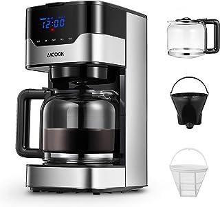 Cafetera Aicook Cafetera Goteo para 12 Tazascon con Temporizador Programable, Máquina de Café con Pantalla Táctil, Filtro ...