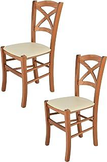 Tommychairs - Set 2 sillas Cross para Cocina y Comedor Estructura en Madera de Haya Color Cerezo y Asiento tapizado en Po...