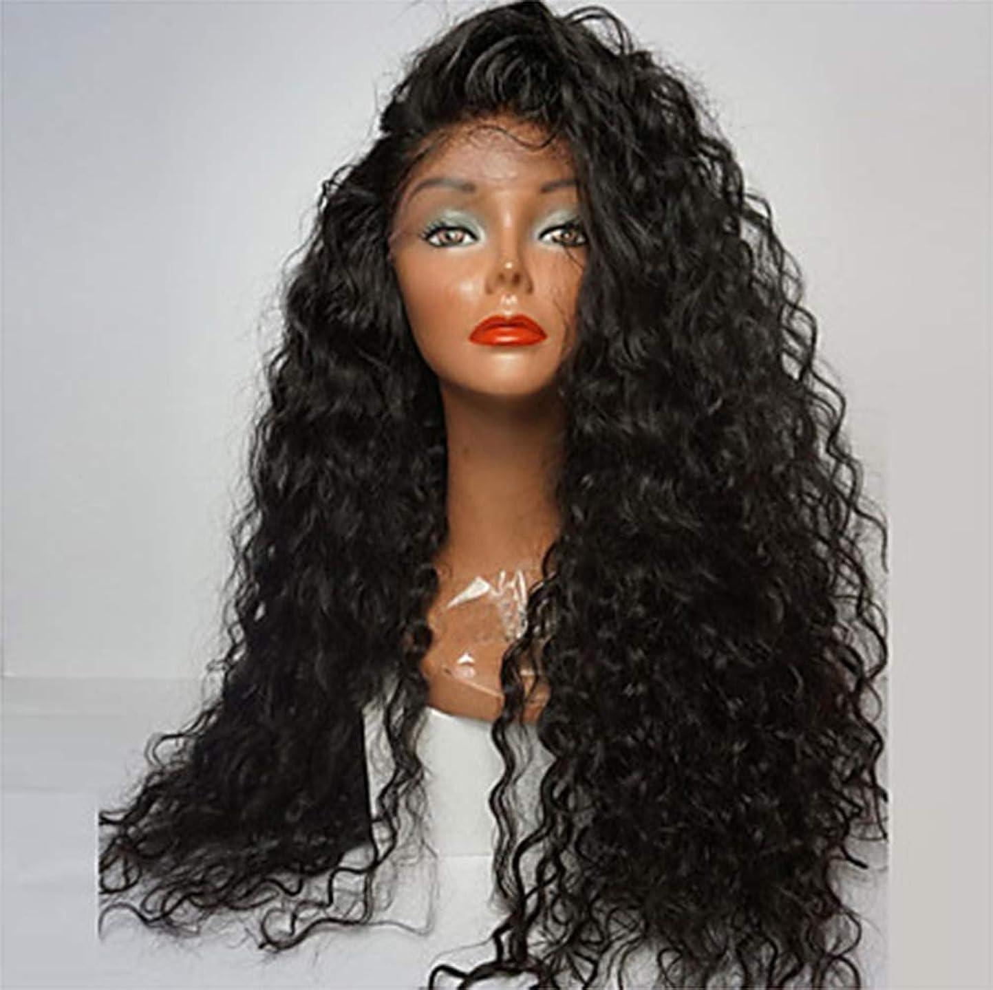 私たちオセアニア軽黒人女性の耐熱毛カーリー150%密度のかつらのためのかつらフロントレース合成フルかつら