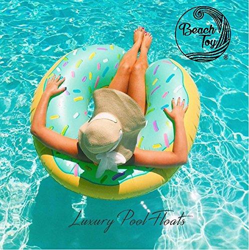 Beautyful Center Beach Toy  - Bouée géante Gonflable Donut Bleu, Diamètre 110 cm, Mega Fun Party
