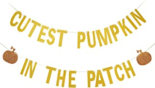 Gold Glittery Cutest Pumpkin In The Patch Banner,Halloween Party Decorations,Fall Kid's Birthday Party Decor,Mantle Home Decorations