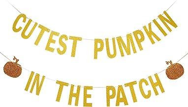 Gold Glittery Cutest Pumpkin In The Patch Banner- Halloween 1st Birthday Decorations,Pumpkin Birthday Party Decorations,Pu...