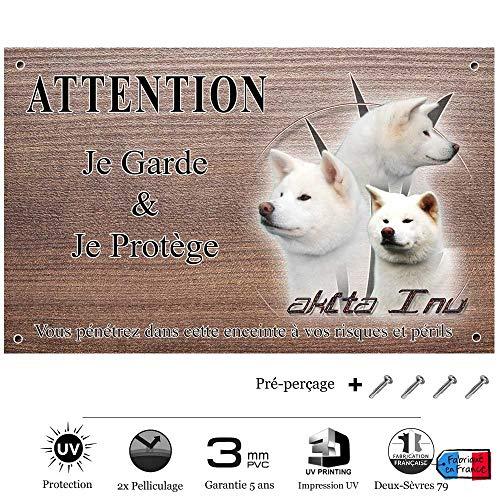 Pets-Easy.com Panneau Attention au Chien personnalisée Akita inu Blanc - pré percée et vis données. De 30 cm à 15 cm…