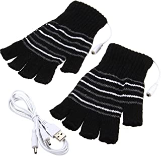 Black USB Powered Stripes Pattern Knitting Wool Heating Heated Gloves Fingerless Hand..