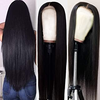 Hermosa 9A Lace Front Wigs Human Hair with Baby Hair Pre Plucked Bleached Knots Remy Brazilian Straight Lace Wigs for Blac...