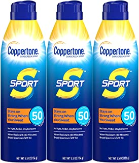 Coppertone Sport Continuous Sunscreen Spray Broad Spectrum SPF 50 Multipack (5.5 Ounce Bottle, Pack of 3) (Packaging May V...