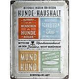 Nostalgic-Art 23245 PfotenSchild - Hunde-Haushalt Regeln, Blechschild 30x40 cm