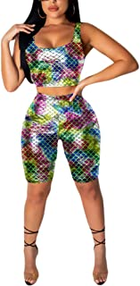 Ophestin Women Sexy 2 Piece Outfit Fish Scale Bodycon Tank Top Cropped Pants Set for Club
