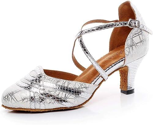 JRYYUE PU Rond Toe Chaussures de de de Danse Cuir Femme Talon Haut Cross Sangle 7.5CM f60