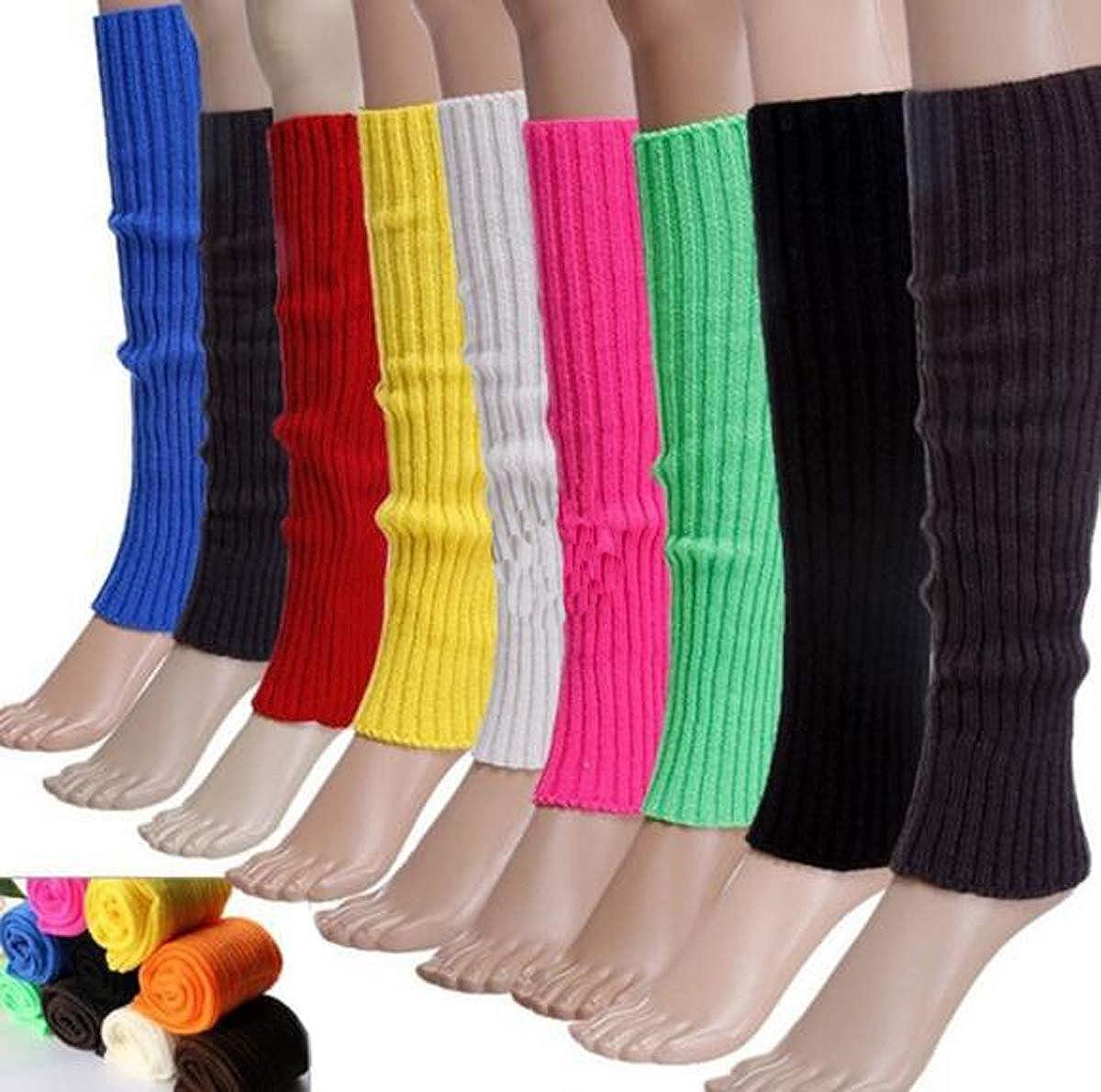 FZBNSRKO Women Girls 80s Knit Leg Warmers Ribbed Long Leg Warmers for Party Sports Accessories