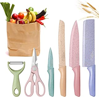 DCYSO Kitchen Knife Set of 6 Pieces in Gift Box, Professional Stainless Steel Colored Ultra Sharp Chef Knives Set, Unique Gift for Friends, Family,Birthday,Christmas,Camping