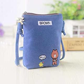 Sylviaian Many Types Cute Fashion Cute Embroidered Canvas Phone Bag Girls Fashion Cartoon Mini Messenger Bags Shoulder Bag,Mobile Phone Bag(None Blue)