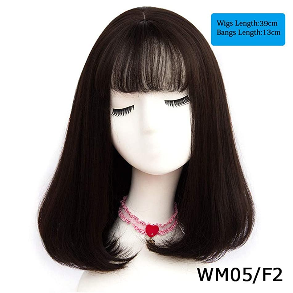45 Colors Synthetic Long Straight Natural Hair Wigs With Bangs Womens Hair Brown Blonde Gray Color WM 05 F2 20inches
