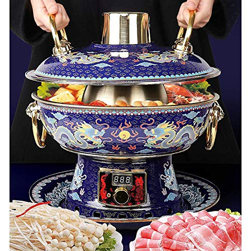 Electric Carbon Double-Use Fondue Fondue Marmite Stainless Steel Enamel Party Copper Pure Hot Pot Household Fire, 34cm in Diameter Family Dinner