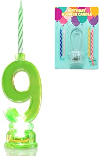 Novelty Place Multicolor Flashing Number Candle Set, Color Changing LED Birthday Cake Topper with 4 Wax Candles (Number 9)