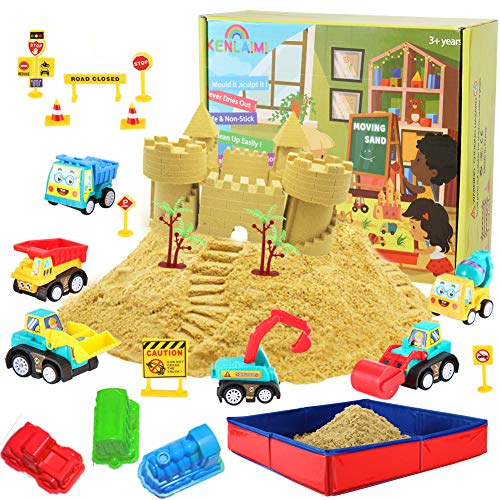 Kenlaimi Play Sand for Kids - Folding Sandbox with 2lbs Sand, 6 Mini Construction Trucks 10 Road Signs,Modeling Tools, Birthday Gifts for Boys Girls Aged 3 and Up