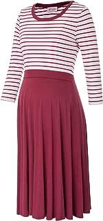 Women's Striped Patchwork Long Sleeve Maternity Breastfeeding Nursing Dress