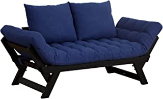 HOMCOM Single Person 3 Position Convertible Couch Chaise Lounger Sofa Bed, Dark Blue