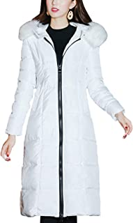 Women's Winter Windproof Padded Long Down Alternative Coat Faux Fur Hood
