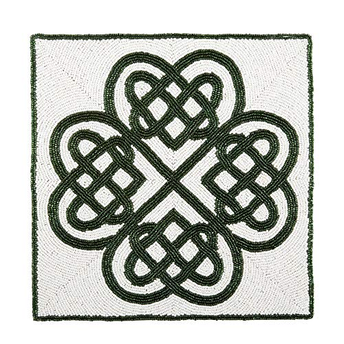 Northeast Home Goods St Patrick's Day Square Beaded Celtic Knot Placemat Centerpiece