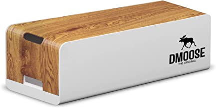 DMoose Cable Management Box Organizer - ABS material, Wooden Style - Hides Power Strips, Surge Protectors & Cords. Large S...